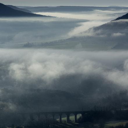 vallée Ouche brouillard, Nikon D5200, AF Nikkor 70-210mm f/4-5.6D