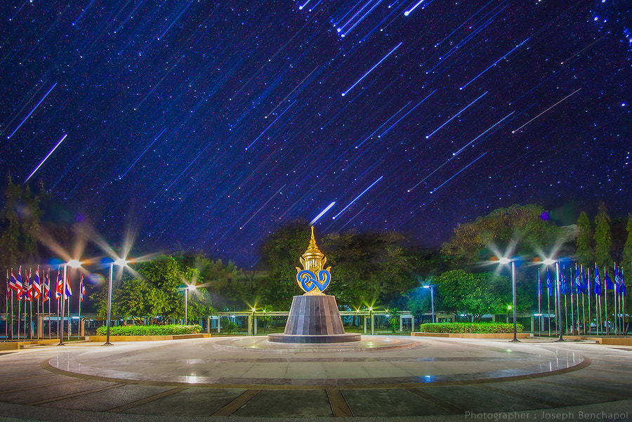 Photograph Star trail in University by Joseph Benchapol on 500px