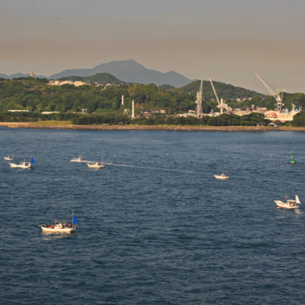 Fishing boats on Kanmon, Canon EOS-1DS MARK III, Canon EF 75-300mm f/4-5.6