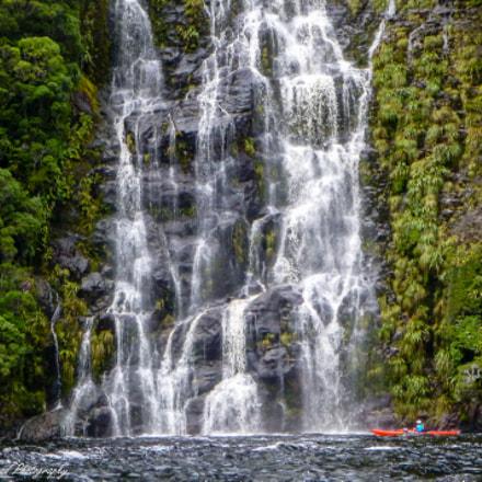 Waterfall and kayaker, Fjordland, Panasonic DMC-FT4