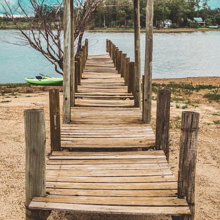 Wooden Dock. Blue Sky
