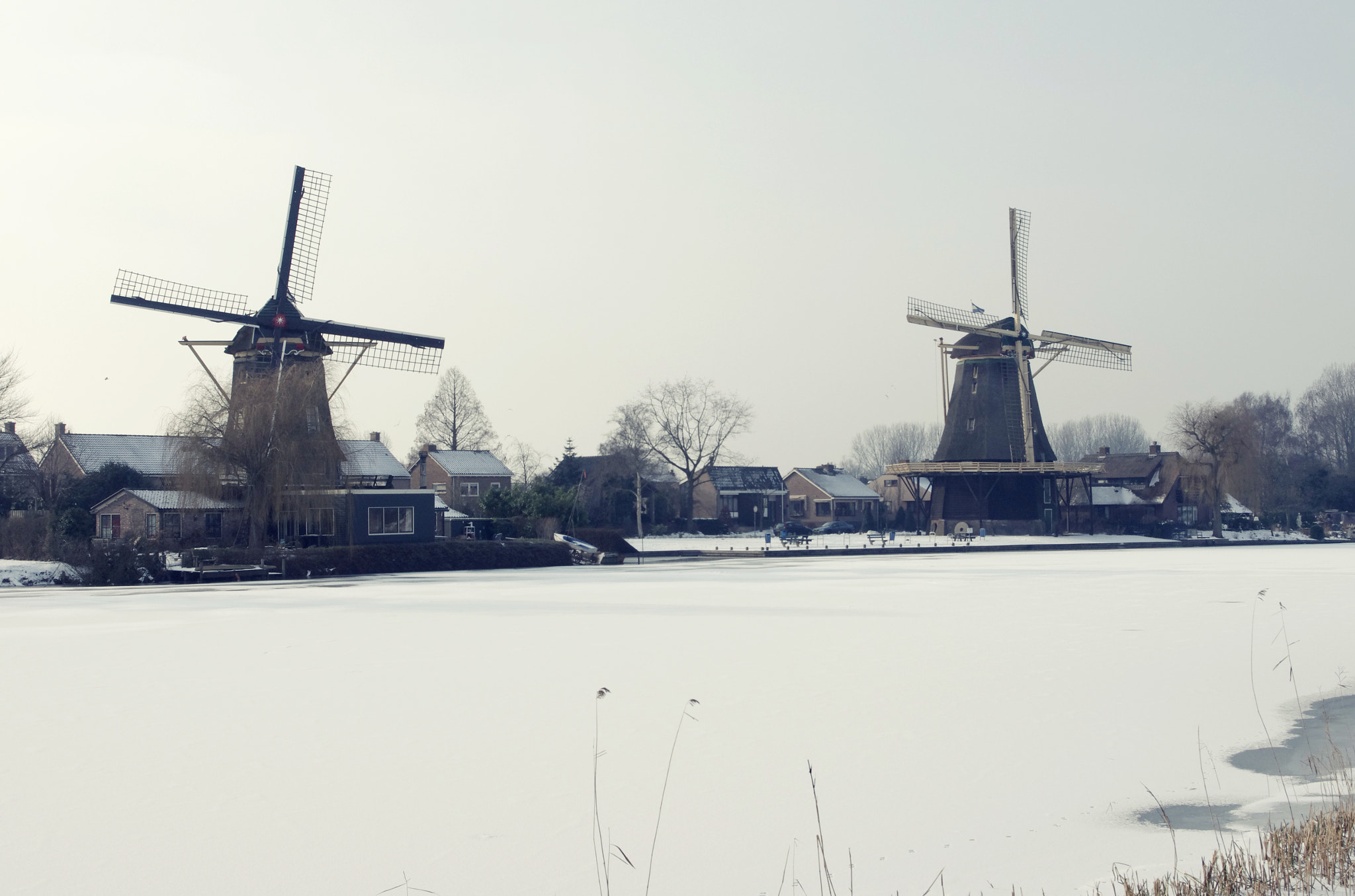 Photograph winter landscape; two windmills at weesp holland by hans hoeben on 500px