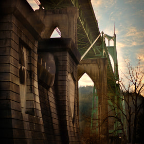 st johns bridge side view...portland oregon,