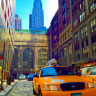 ������, ������: The Chrysler Building & Taxi Cab in New York City