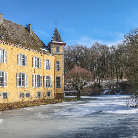 Yellow castle in winter.