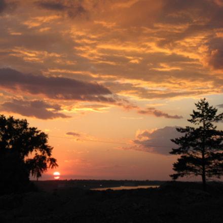 sunset over lake, Canon POWERSHOT A640