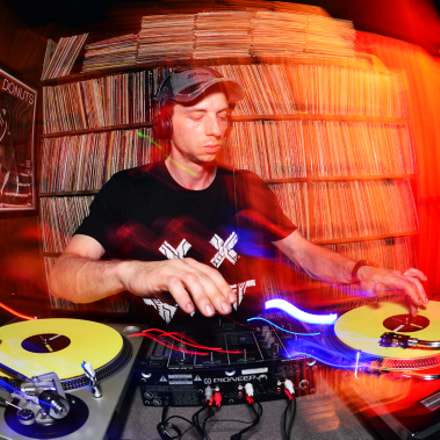 dj at Vinyl Lounge, Nikon D7000, AF DX Fisheye-Nikkor 10.5mm f/2.8G ED