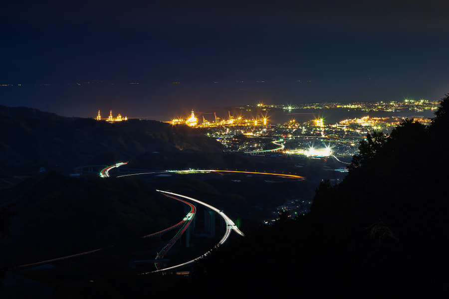 This night view is Shimizu bay area and Tomei Highway in Shizuoka pref.