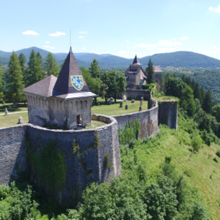 Aerial shot of old bosnian castle Ostrožac