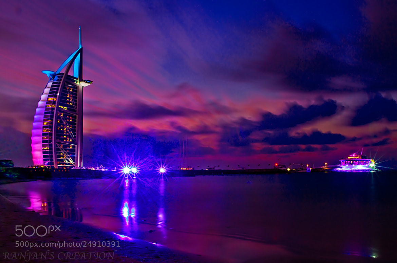Photograph Burj Al Arab in evening by RANJAN SM on 500px