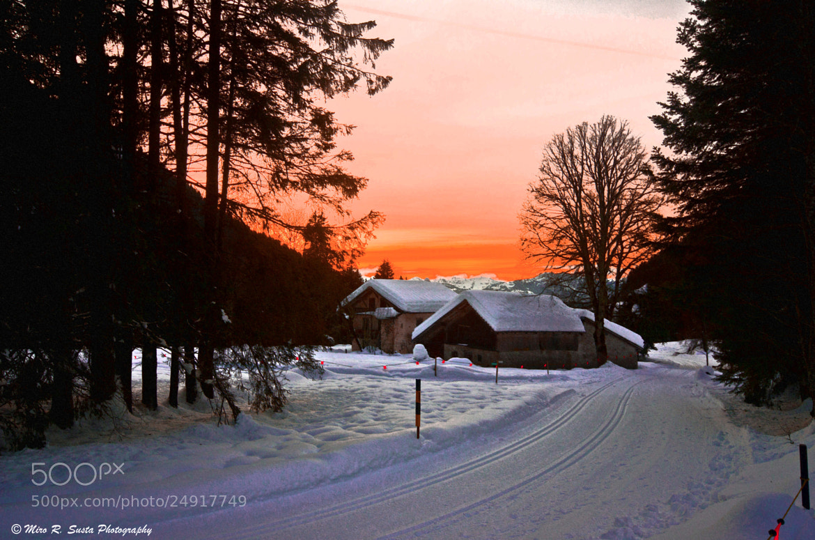 Photograph Winter Sunset Time in Villars by Miro Susta on 500px