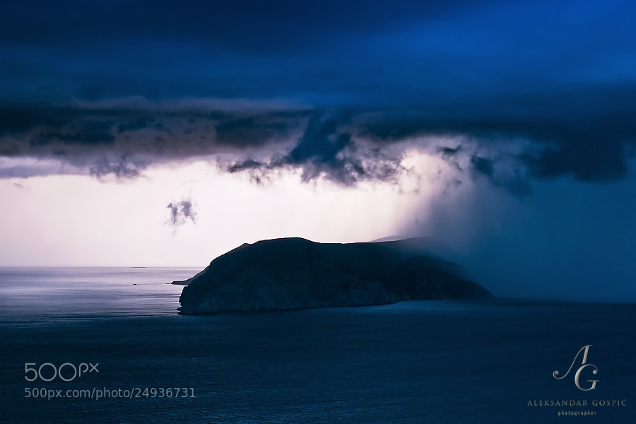 Lightning reveals the hungry storm that is just about to swallow the Prvić island in the North Adriatic