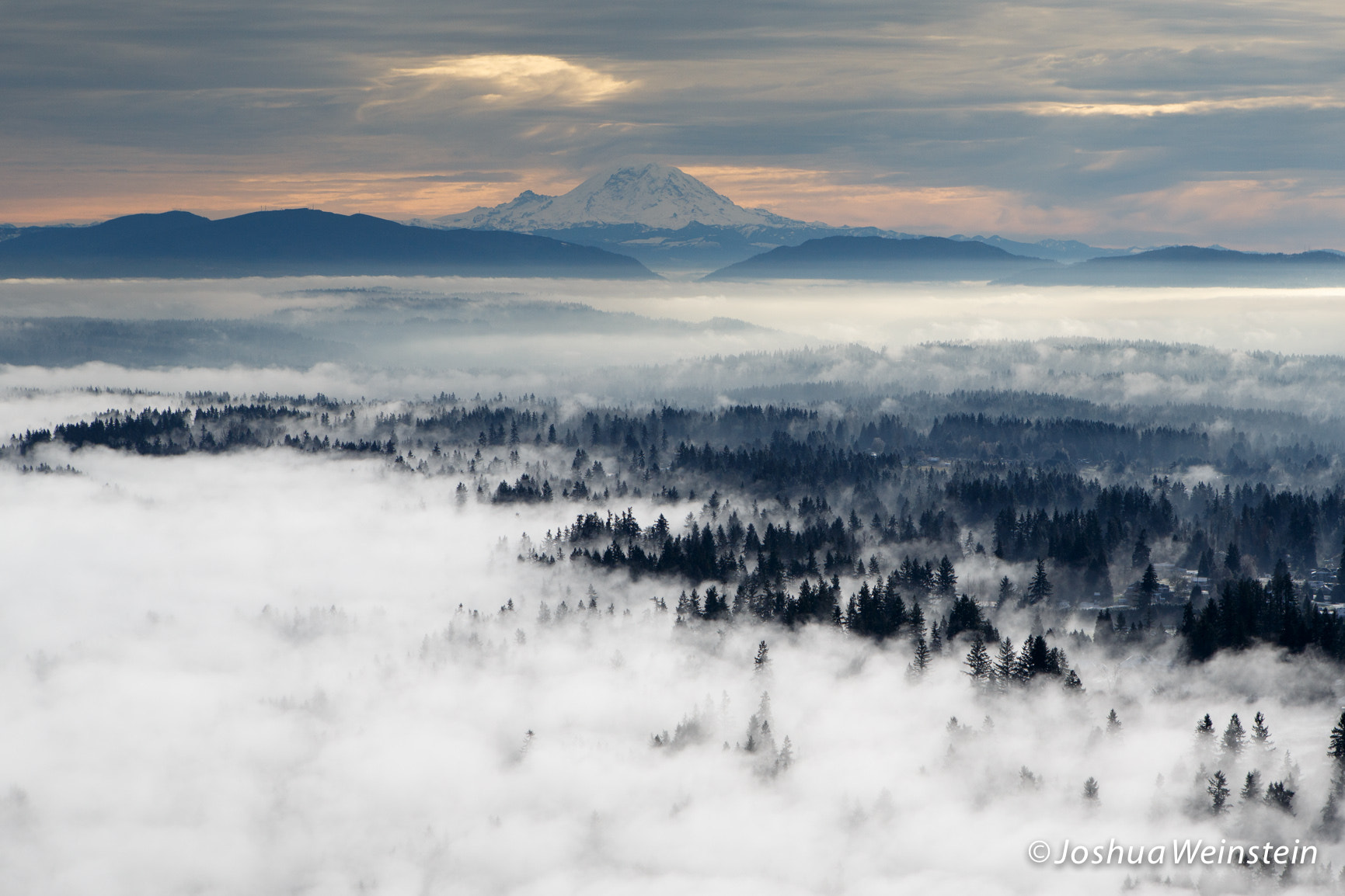 Photograph Mt. Rainier and Lowland Fog in the Cascade Foothills by Joshua Weinstein on 500px
