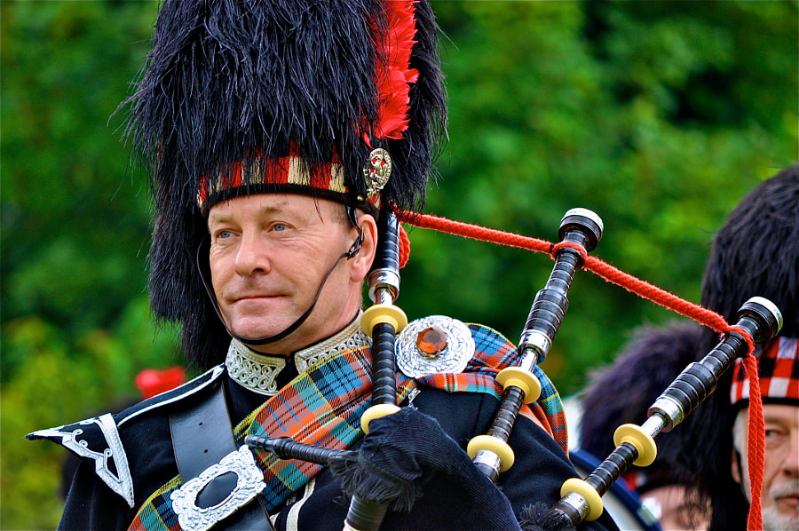 Scottish bagpipes player