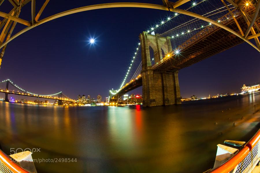 Brooklyn Bridge at night by the East River Bikeway