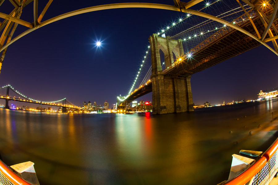 Brooklyn Bridge at night by the East River Bikeway