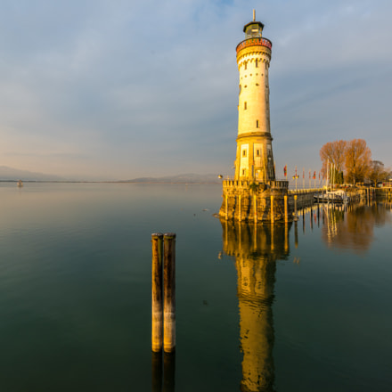 Lighthouse Lindau in the morning sun
