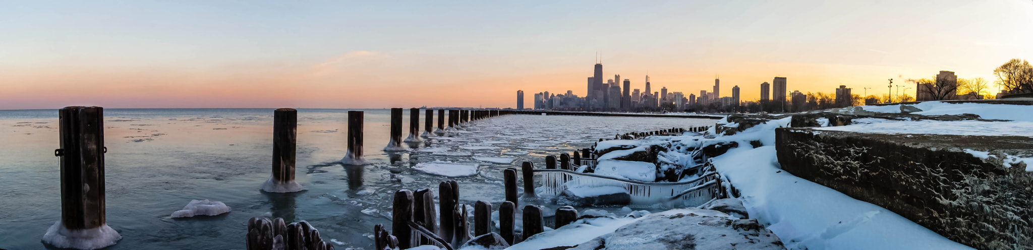 Photograph Chicago pano from Fullerton Ave Beach by Jeffrey Olson on 500px