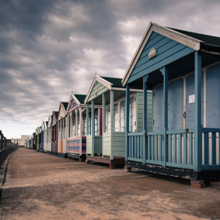 Muted beach huts