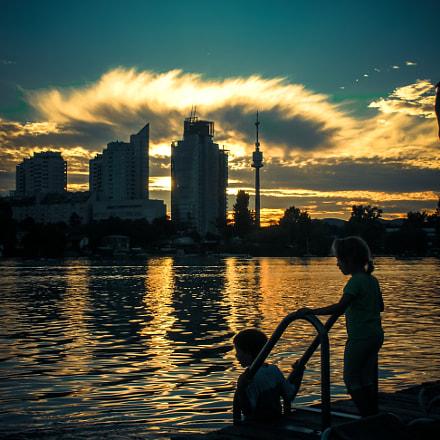 Alte Donau sunset, Nikon S1