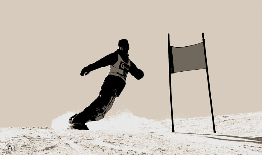 I did take some photos during a downhill race in Kitzbühel some year ago. I did some work in Photoshop to find a thing between art and sports.