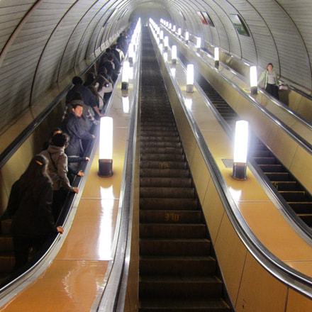 Moscow subway stairs, Canon POWERSHOT SX210 IS