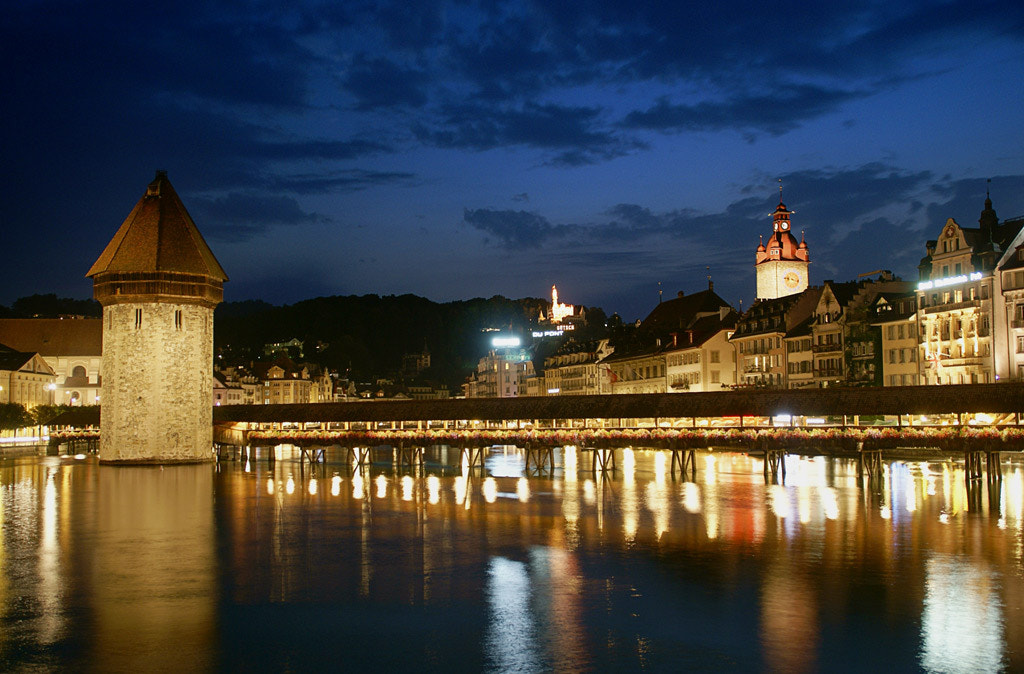 Photograph Luzern Bridge by Night by Preininger on 500px