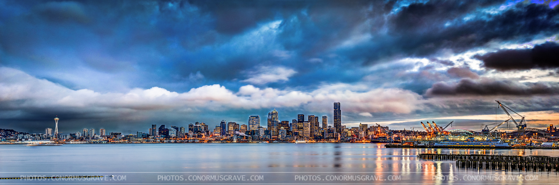 Photograph Seattle Blue Hour Panorama by Conor Musgrave on 500px