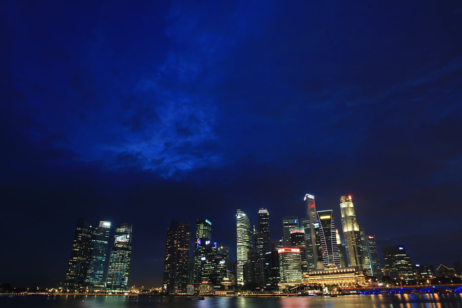 Blue Hour at Marina Bay Singapore