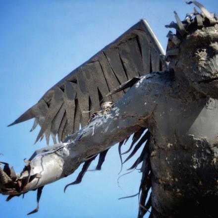 Sculpture with Nesting Bird, Nikon COOLPIX S9600