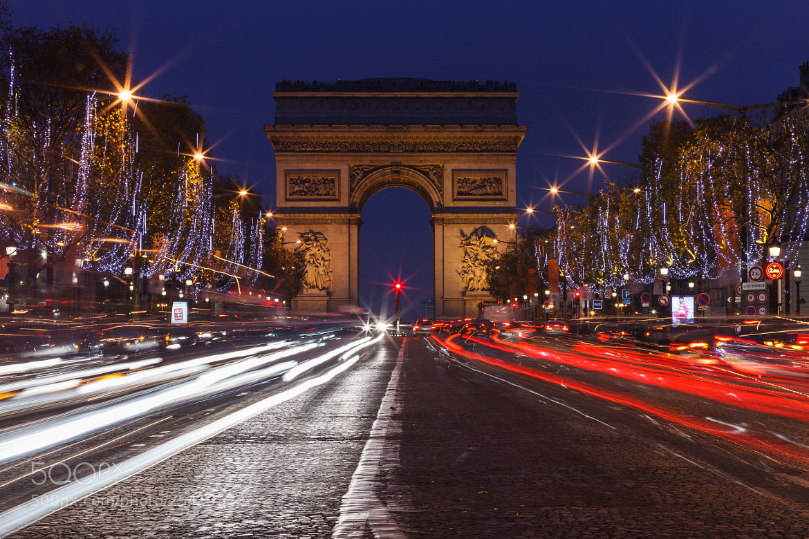 Photograph Champs Elysees light trails by Sergio Lanza on 500px