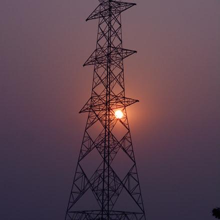 Sunrise through Electric Tower, Nikon COOLPIX L30