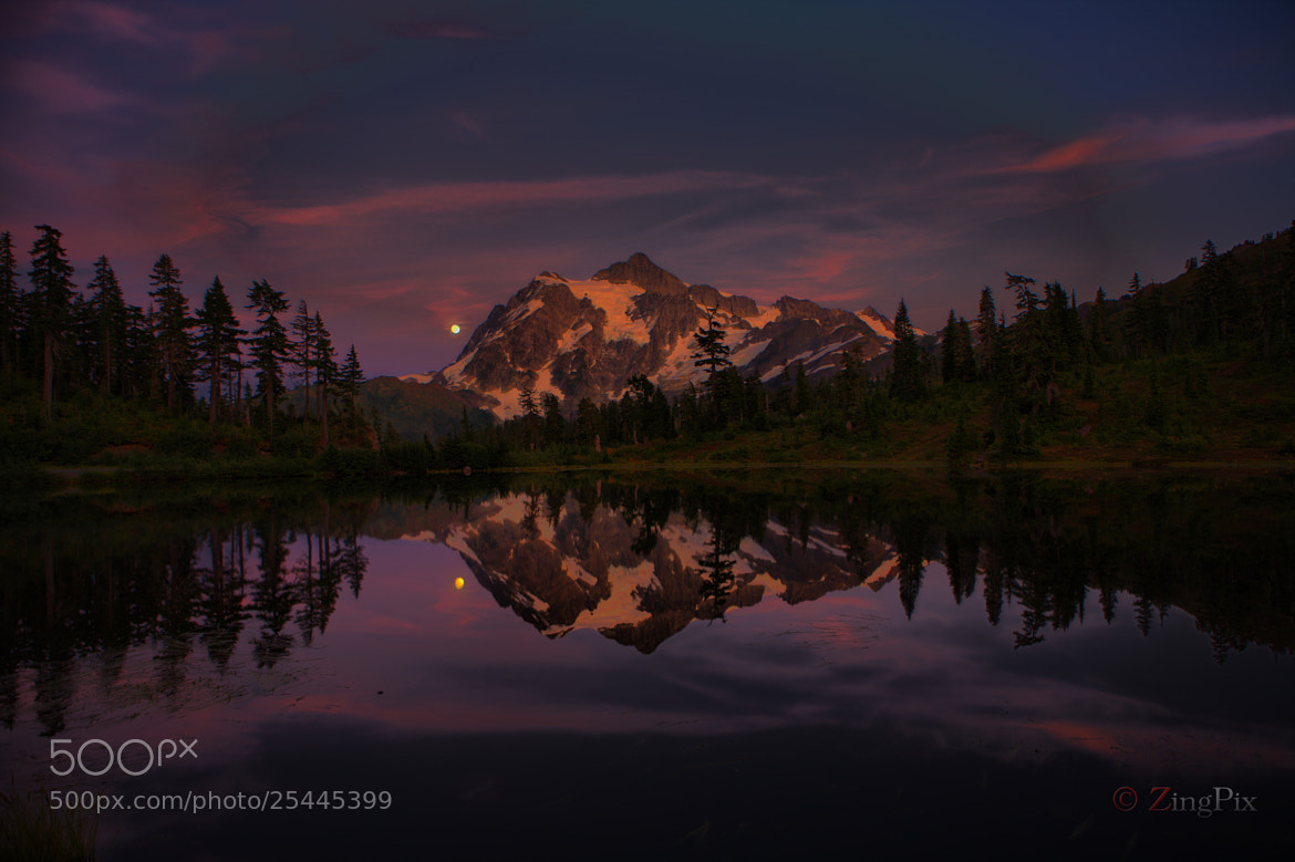 Photograph Mount Shuksan with Full Moon by Jeff Jaquish on 500px