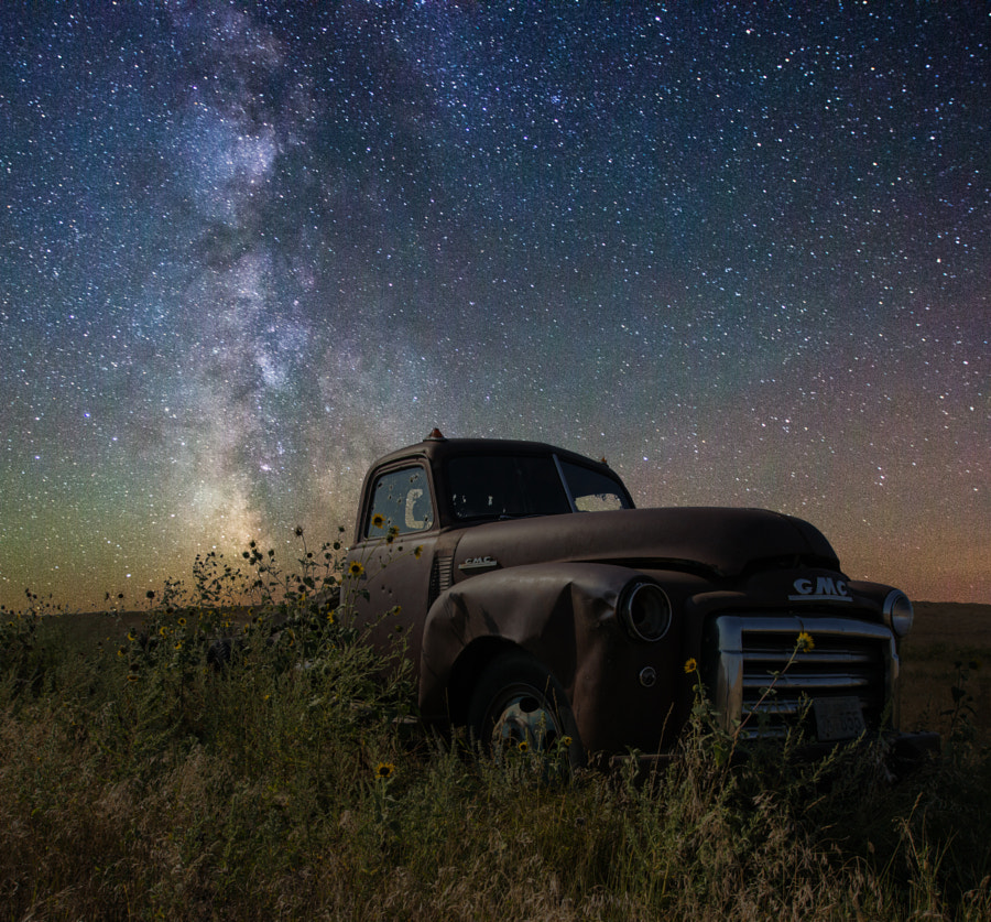 Milky Way Stars shine bright over this decaying GMC Pickup in a field near Lake Oahe, South Dakota.