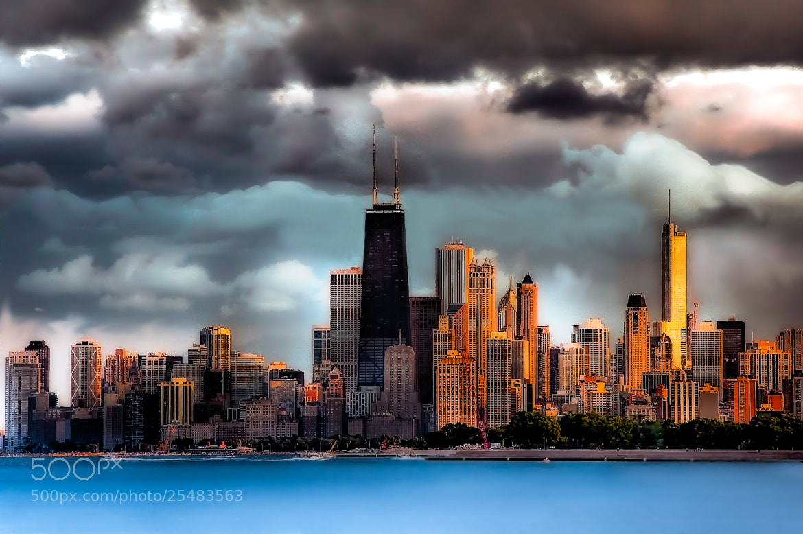 Photograph Chicago Skyline HDR Sunset by John Harrison on 500px