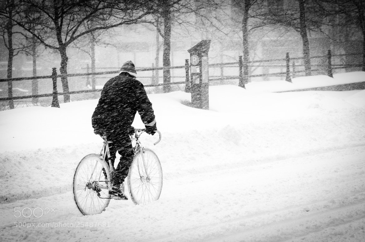 Photograph Cycling under snow storm ! by Nicolas Erny on 500px