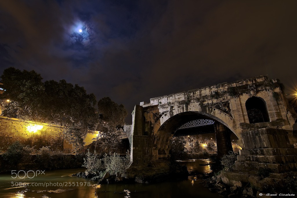 Photograph Old bridge on Tevere and moon by Gianni Cicalese on 500px