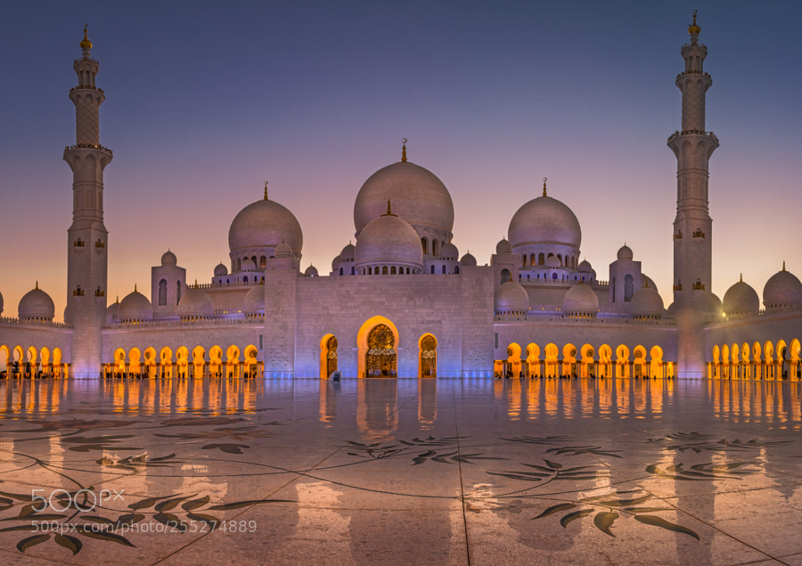Inside Grand Mosque at Sunset