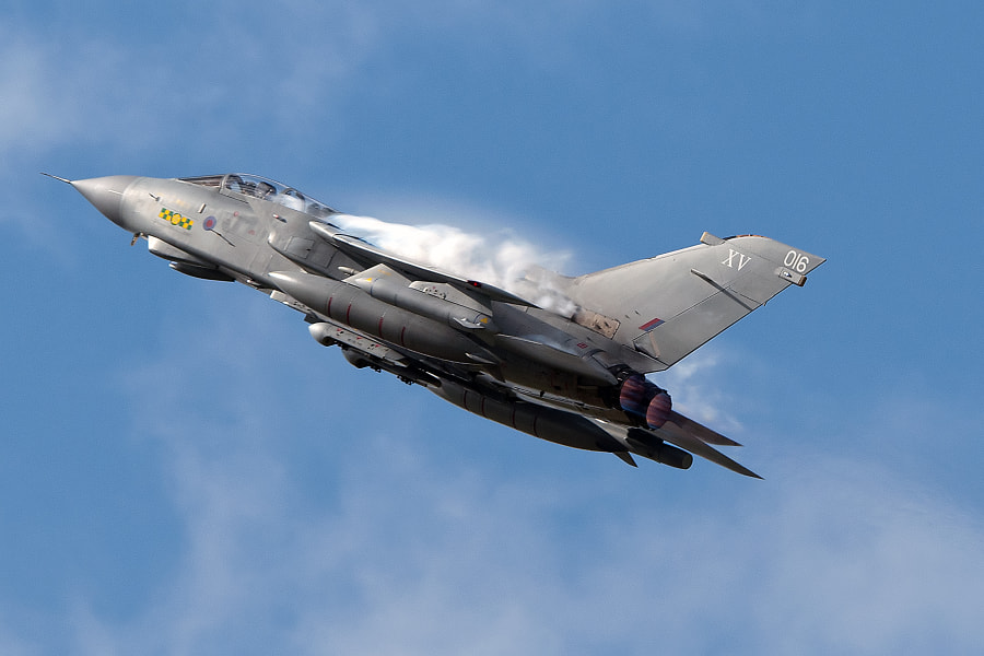 RAF Tornado taking off at the Royal International Air Tattoo, at RAF Fairford in 2011