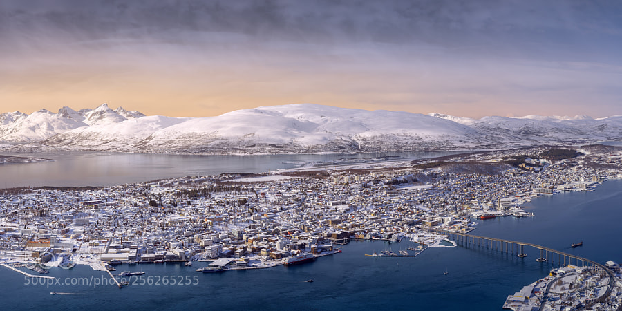 Tromsø from above on a winter evening