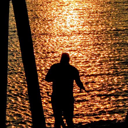 ..twilight fisherman.., Canon POWERSHOT A590 IS