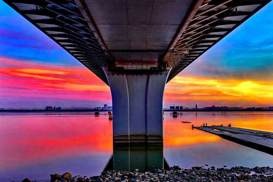 钱塘江畔晚霞美(九堡大桥下), автор — 姚伟新  на 500px.com