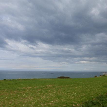 Clouds over Arromanches-les-Bains harbour, Panasonic DMC-TZ36