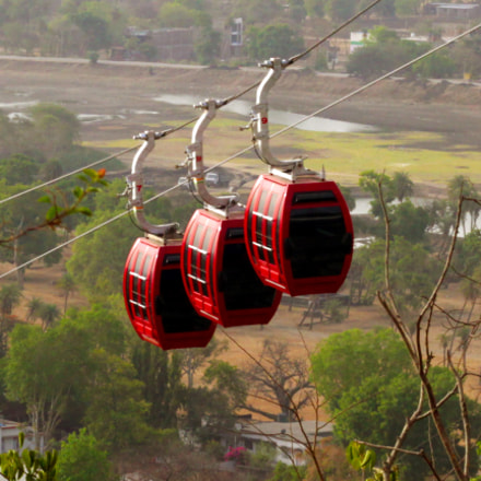 Red cable cars with, Canon EOS 3000D