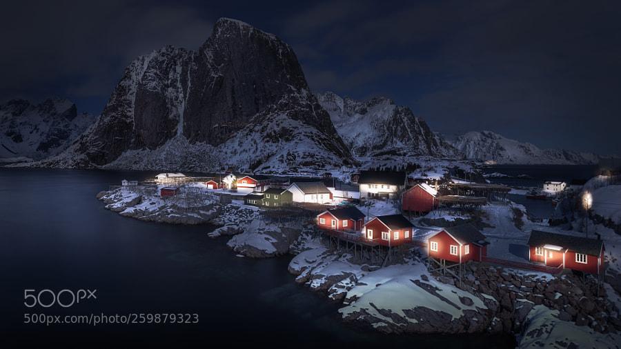 Hamnøy in moonlight