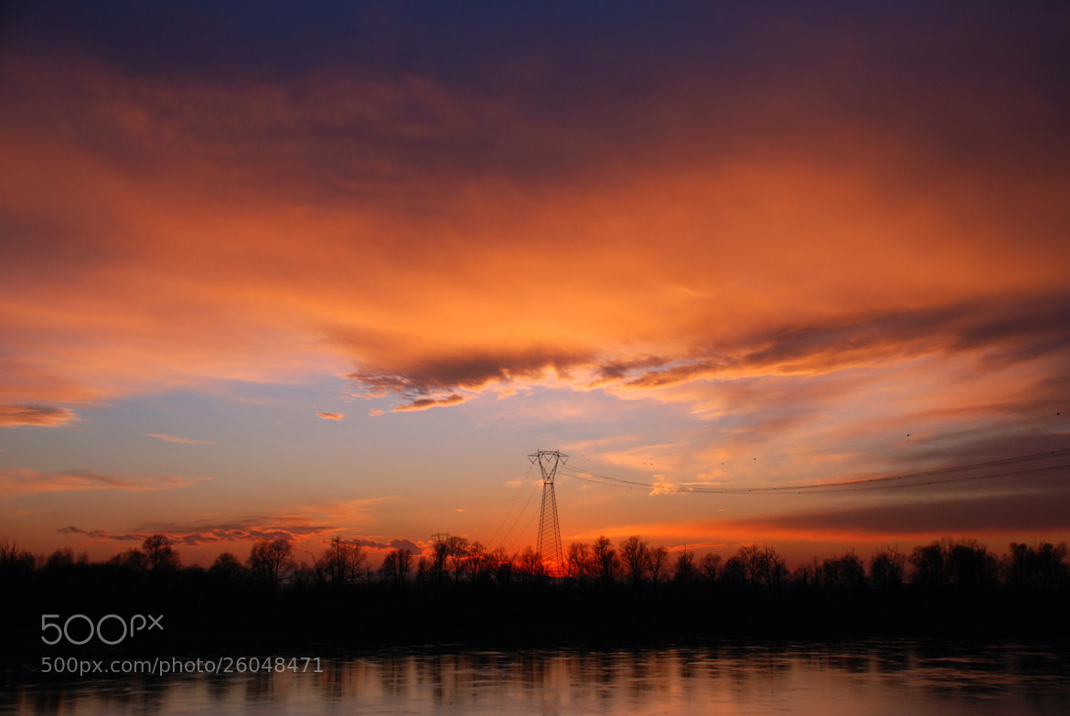 Photograph Sunset on the wires by luigibertagni on 500px