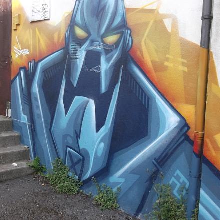 Blue Robot Graffiti Old, Fujifilm FinePix JV250
