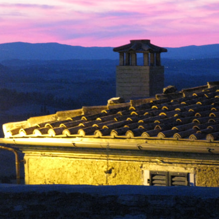 Pink sky in Tuscany, Canon POWERSHOT A720 IS