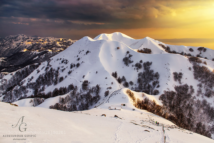 End of the unstable winter day on Biokovo (1762m) mountain above the Croatian Adriatic coast