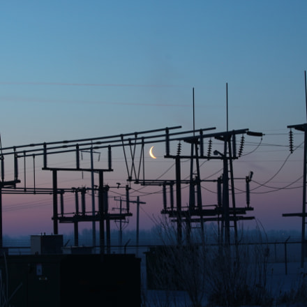 Moon over substation, Canon EOS REBEL T4I, Canon EF70-300mm f/4-5.6 IS II USM